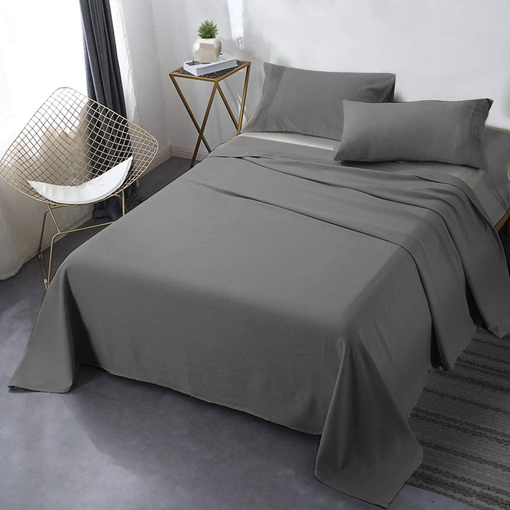 "Secura Everyday Luxury Queen Bed Sheet Set 4 Piece - Soft Microfiber 1800 Thread Count 16"" Deep Pocket Sheet Sets - Hypoallergenic, Wrinkle & Fade Resistant (Gray)"