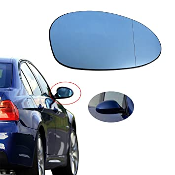 DOOR WING MIRROR GLASS BLUE HEATED RIGHT BMW 3 SERIES E91 SALOON 2008