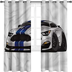 Interestlee Kids Blackout Curtains Boys Room Grommet Drapes for Kitchen Cafe Decor Muscle Race Rally Car Set of 2 Panels, 55 Width x 45 Length