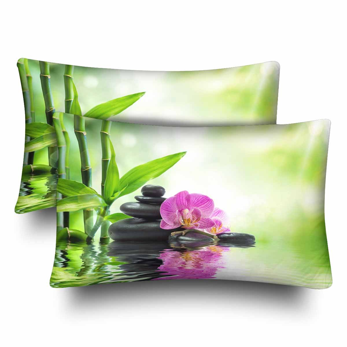 InterestPrint Spa Purple Orchids Black Stones Bamboo on Water Pillow Cases Pillowcase Queen Size 20x30 Set of 2, Rectangle Pillow Covers Protector for Home Couch Sofa Bedroom Decoration