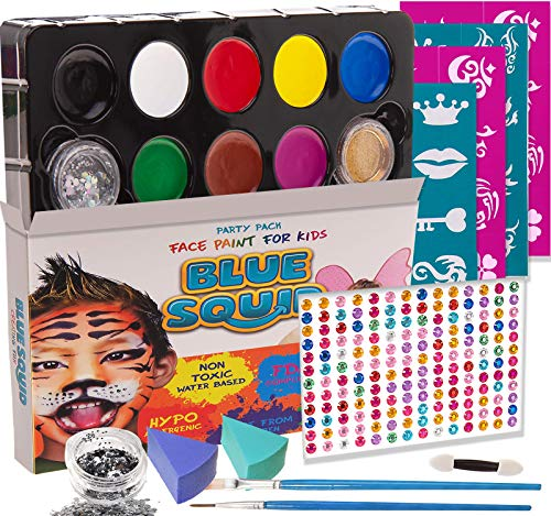 Blue Squid Face Paint for Kids, 193 Pieces, 8 Color, 30 Stencils, Brushes, Gems, Sponges & Applicator, Best Value Quality Party Pack for Kids, Safe Facepainting for Sensitive Skin, Quality Water Based -