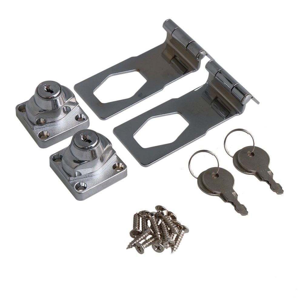 RDEXP 4 Inch Length Silver Zinc Alloy 90 Degrees Keyed Hasp Lock Twist Knob Keyed Locking Hasp for Door Cabinet Set of 2