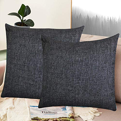 Whiteibis Polyester Cotton Soft Solid Decorative Square Throw Pillow Covers Set, Cushion Cases, Pillowcases for Sofa/Bedroom/Car, 18 X 18 Inches, 2 Pieces, Black ()