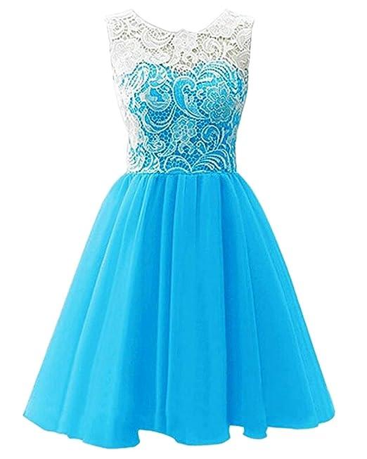 Niñas Vestido de Encaje Princesa Sin Mangas Vestido Fiesta de Boda Bautizo Azul 130