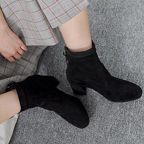 Easemax Kvinners Trendy Frostet Søm Rund Tå Midten Chunky Hæl Glidelås Ankel Boots Black