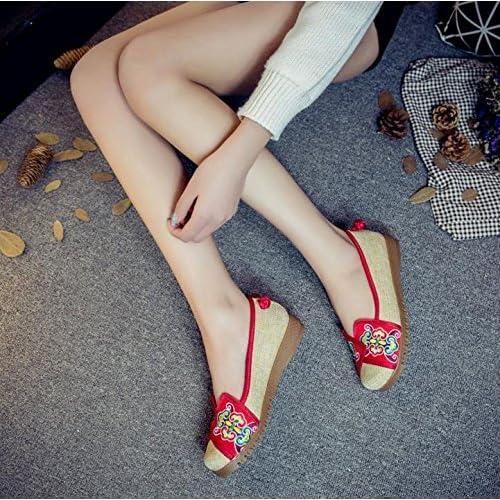 &QQ Chaussures brodées, semelles tendineuses, style ethnique, chaussures en tissu féminin, mode, confortable, décontracté dans l'augmentation