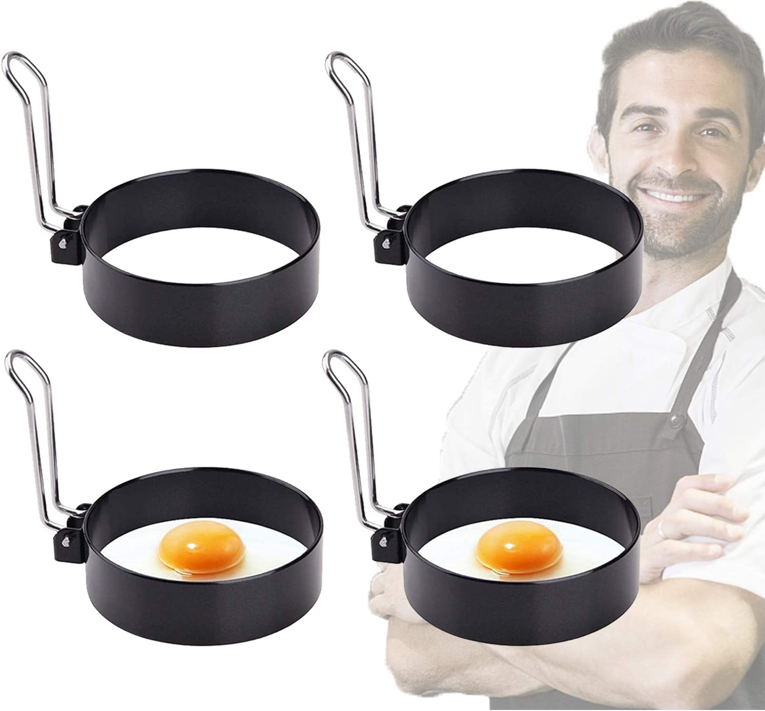 Egg Ring, 4PCS Round Professional Pancake Mold, Egg Cooker Rings For Cooking, Stainless Steel Non Stick Round Egg Ring Mold For Fried Egg, Pancakes, Sandwiches