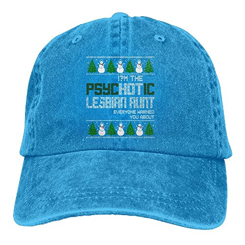 CDHLBNG Men And Women I'm The Psychotic Lesbian Aunt Ugly Christmas Vintage Jeans Baseball Cap