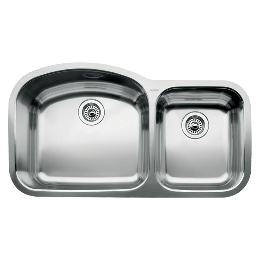 Blanco, Stainless Steel 440242 WAVE Undermount Double Bowl Kitchen Sink, 37.41 x 20.875