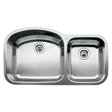 Blanco 510-882 Wave 1 3/4 Double Bowl Undermount Kitchen Sink, Satin ...