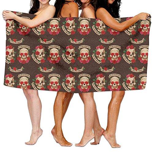 Carmen A Mexican Skull and Flower Stay True Forever Bath Towel Adult Microfiber Towel 31 X 51 Inch Bath Sheet by Carmen A