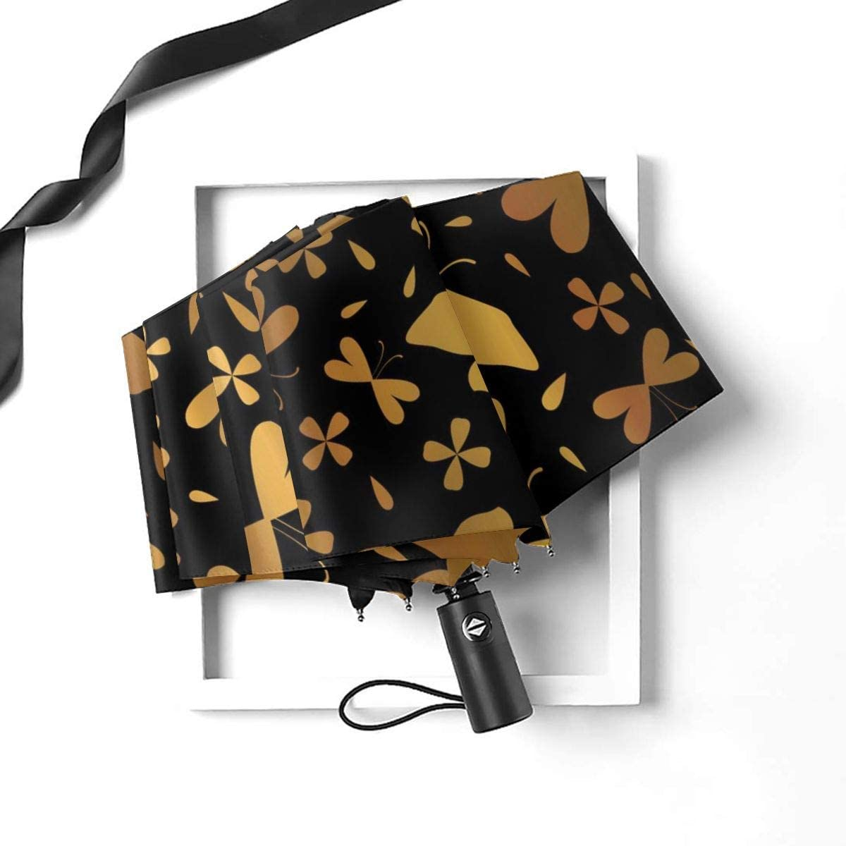 Luxe Copper Gold On Black Butterflies Compact Travel Umbrella Windproof Reinforced Canopy 8 Ribs Umbrella Auto Open And Close Button Personalized