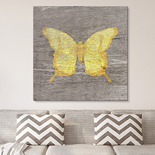 (wall26 - Square Canvas Wall Art - Yellow Butterfly Wood Effect Canvas - Giclee Print Gallery Wrap Modern Home Decor Ready to Hang - 24x24 inches)