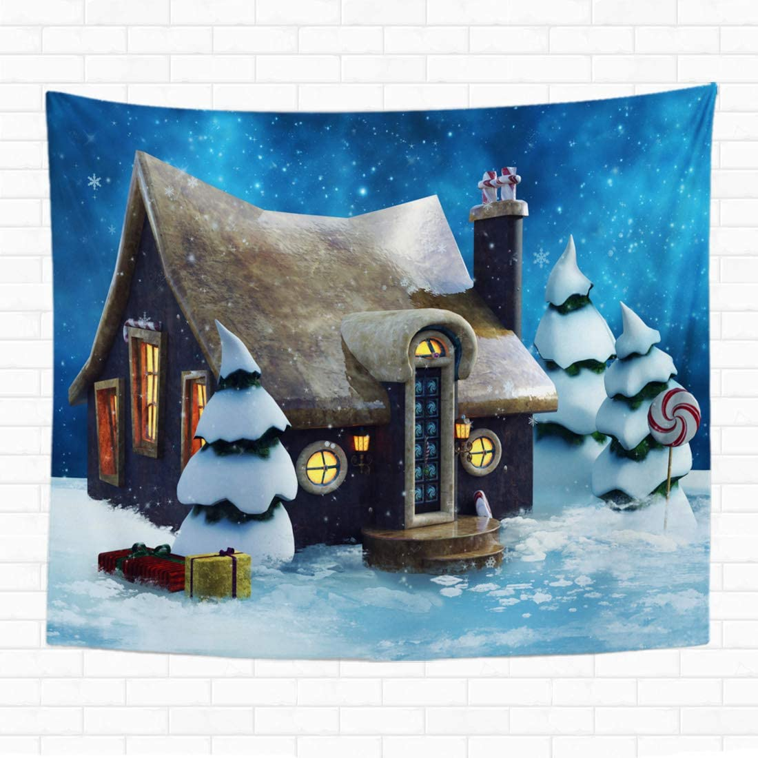 Topyee 60x80 Inch Tapestry Wall Hanging Fairytale Gingerbread Cottage with Trees Cake Castle Baked Bakery Home Decorative Tapestries Wall Blanket for Dorm Living Room Bedroom