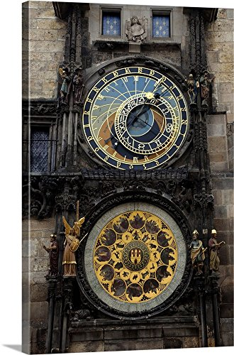 Dennis Flaherty Premium Thick-Wrap Canvas Wall Art Print entitled Czech Republic, Prague. Close-up of astronomical clock on the town hall building 16