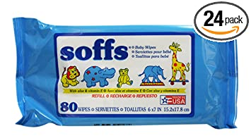 Soffs Baby Wipes, Refill Unscented, 80-count Tubs (Pack of 24)
