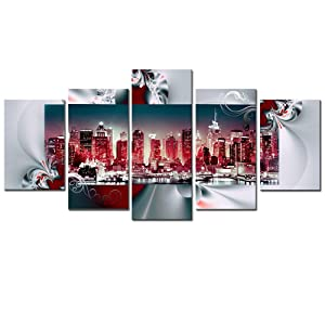 AWLXPHY Decor New York Wall Art Canvas Framed Painting for Living Room Decor 5 Pieces Modern Cityscape NY City Skyline Red and White Red HD Print Abstract Picture Small (Red, W40 x H20)