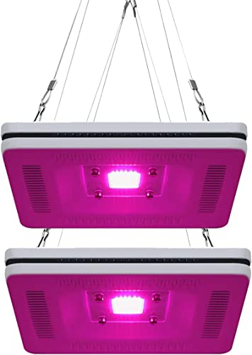 FECiDA 2-Pack LED Grow Light Buy One Get One, Total 600W HPS CFL Grow Lights Equivalent, Best Full Spectrum Plant Grow Light for Indoor Plants in Indoor Garden, Grow Tent, Greenhouse