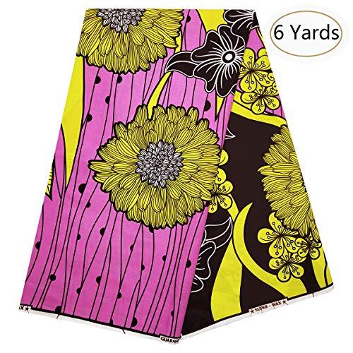 Super 100 Fabric - Dexuelan African Super Wax Fabric 6 Yards 100% Cotton African Ankara Fabric for Sewing Dress