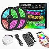 LED Strip Lights App Controlled, 32.8ft/10M Bluetooth Waterproof Music Light Strips, 24V 600 LEDs 5050 RGB Flexible Lighting with Adhesive, LED Strip Lighting Kit for Home Kitchen