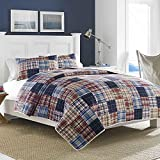 quilt sqaure - MISC 1pc Blue Patchwork King Quilt, Classic Red Gray Country Sqaure Stripped Pattern, Nautical Vintage Rugby Stripes Cottage Grey Bedding, Cotton