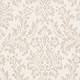 Georgia Ivory White / Tan Damask Vinyl Wallpaper For Walls - Double Roll - By Romosa Wallcoverings offers