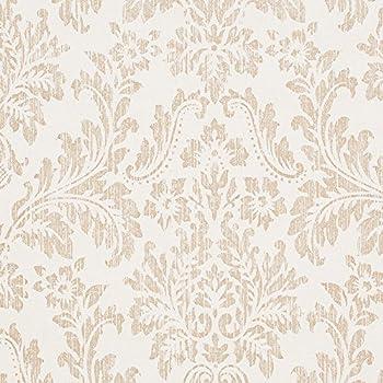 Georgia Ivory White/Tan Damask Vinyl Wallpaper for Walls