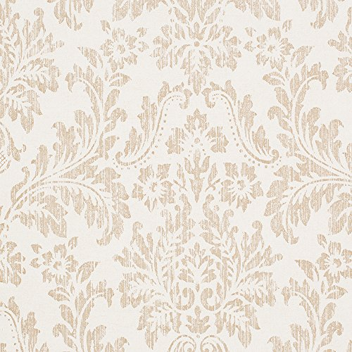 Georgia Ivory White / Tan Damask Vinyl Wallpaper For Walls - Double Roll - By Romosa Wallcoverings - Damask Vinyl Wallpaper
