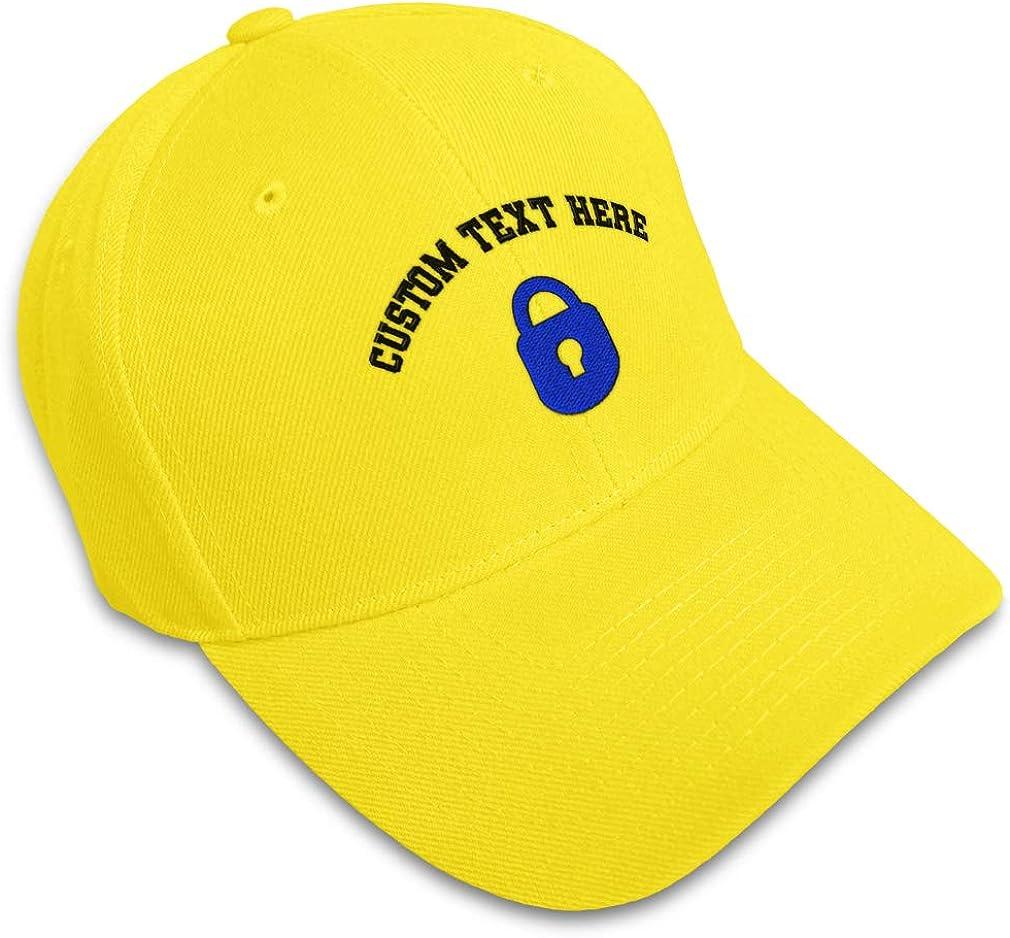 Custom Baseball Cap Blue Padlock A Embroidery Acrylic Dad Hats for Men /& Women