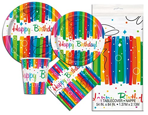 Rainbow Birthday Deluxe Party Pack Serves 16 Plates Cups Napkins & Tablecloth ()