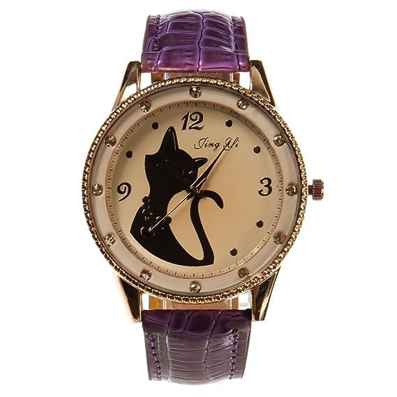 Bona Mana el nuevo rosafarbene Oro Marco Patrón de Gato Bonito Mujer Reloj rosas (Color