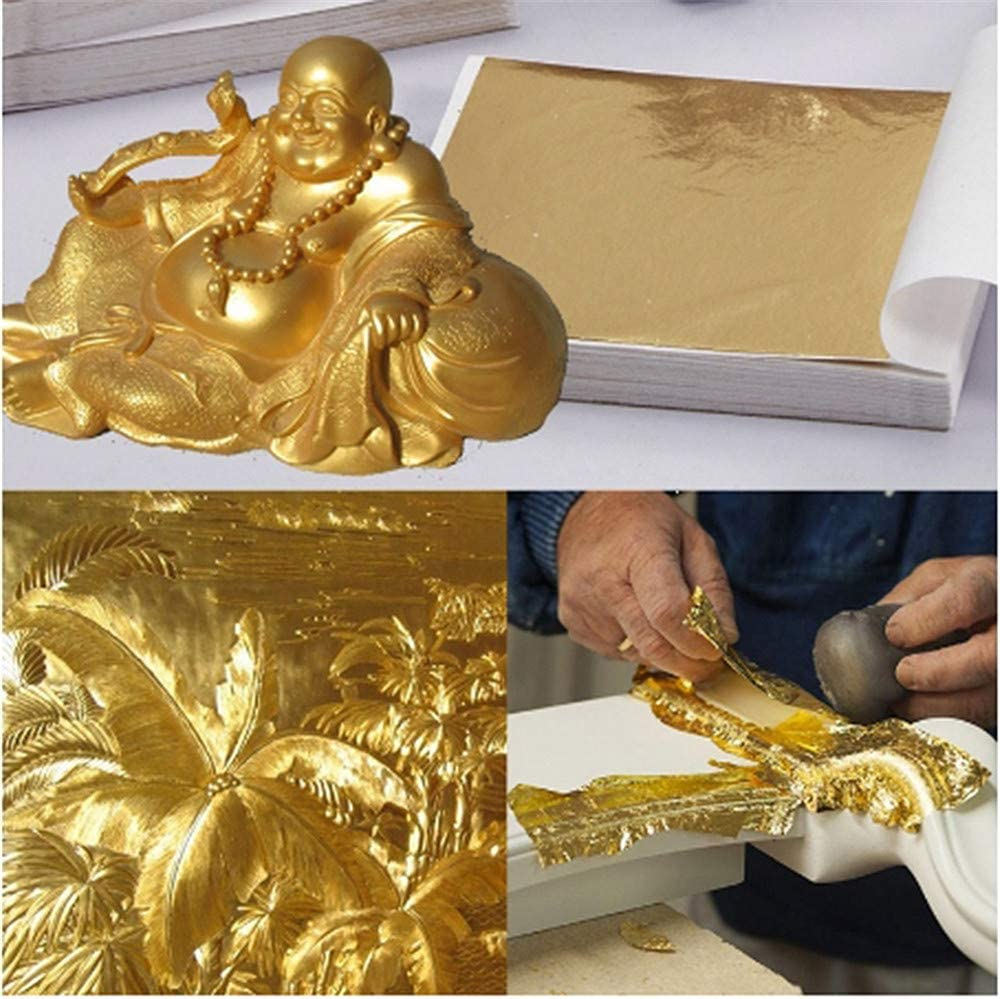 9x9cm 100 Sheets Practical Glossy Shiny Gold Leaf for Gilding Furniture Lines Wall Crafts Arts Project Handicrafts Gilding Decoration Gold