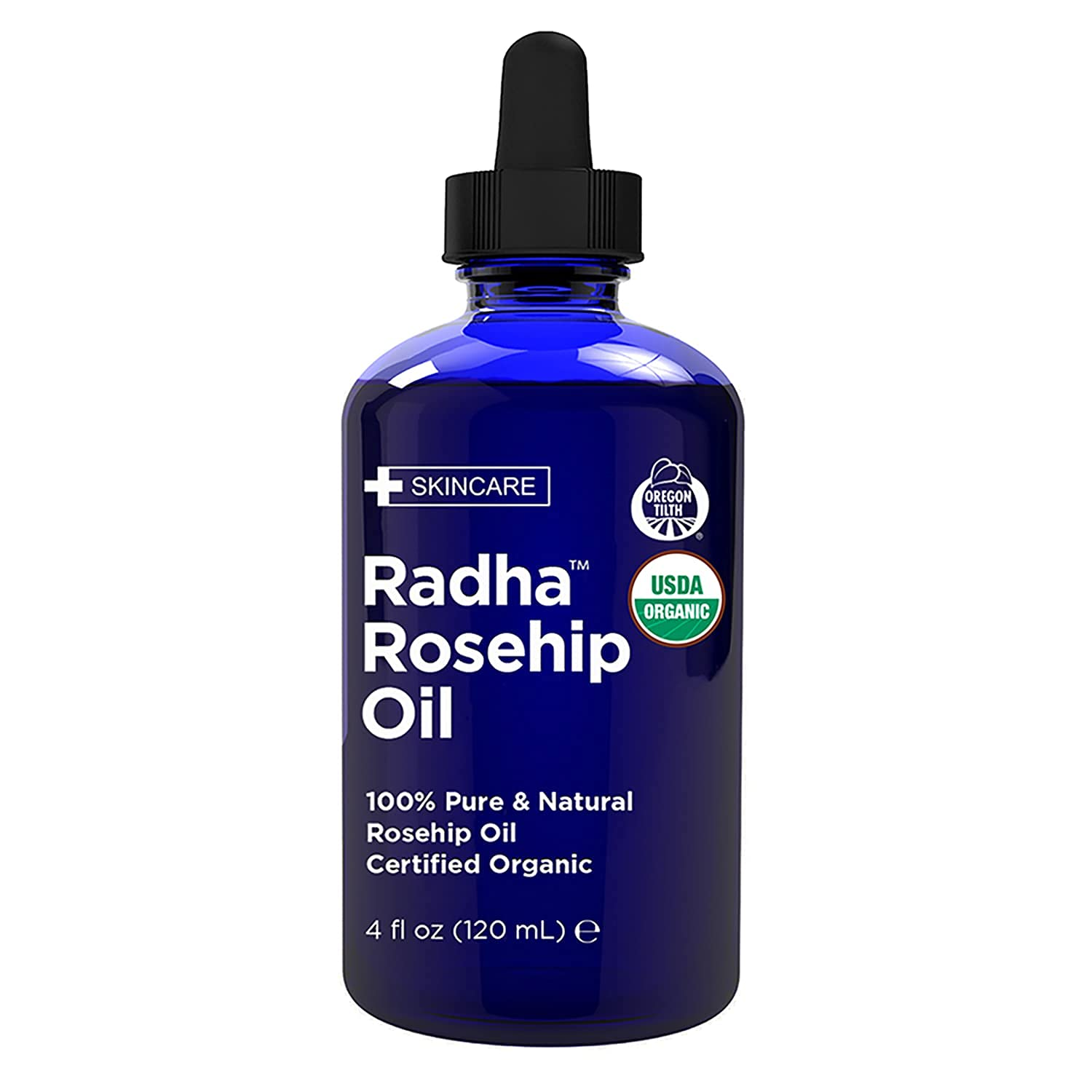 Radha Beauty USDA Certified Organic Rosehip Oil, 100% Pure Cold Pressed - Great Carrier Oil for Moisturizing Face, Hair, Skin, & Nails - 4 fl oz