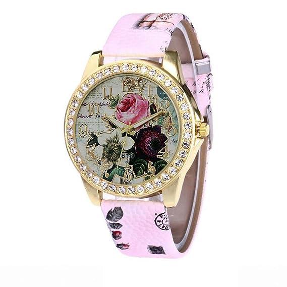 Yusealia Relojes Pulsera Mujer Despeje, Casual Reloj Banda de Cuero con Estampado de Rosa Dama Relojes para Negocio Relijes de Espejo de Vidrio de Alta ...