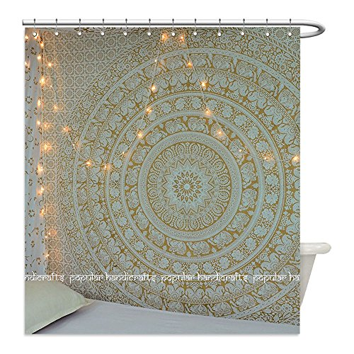 Liguo88 Custom Waterproof Bathroom Shower Curtain Polyester New Launched Popular Gold Elephant Indian Mandala Art Hippie Bohemian Bedspread With Metallic Shine tapestries x (xcms) Exclusively By (Current Tropical Rug)