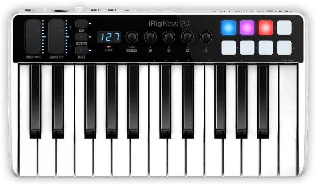IK Multimedia iRig Keys I//O 25-keys Midi Controller with 24-bit up to 96kHz Audio Interface for iPhone//iPad Android and Mac//PC