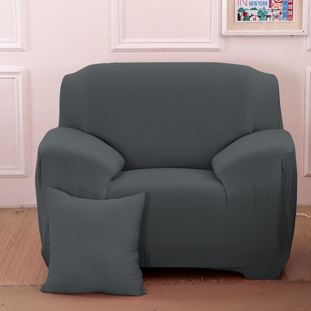 (Sofa Length: 90cm - 140cm, Grey) - Stretch Seat Chair Covers Couch Slipcover Sofa Loveseat Cover 9 Colours/4 Size Available for 1 2 3 4 Four People Sofa + Pillowcase (90cm - 140cm/1 Seater, Grey) Chair グレー B072KR7DGW