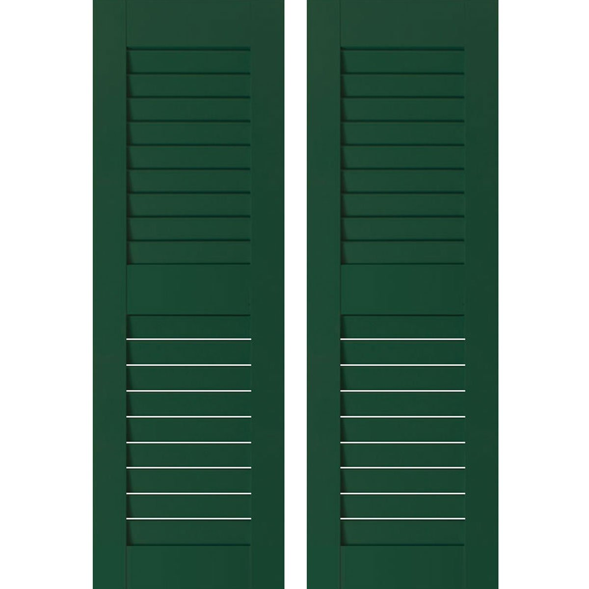Ekena Millwork RWL12X064CGM Exterior Real Wood Sapele Mahogany Louvered Shutters (Per Pair), 12'' x 64'', Chrome Green