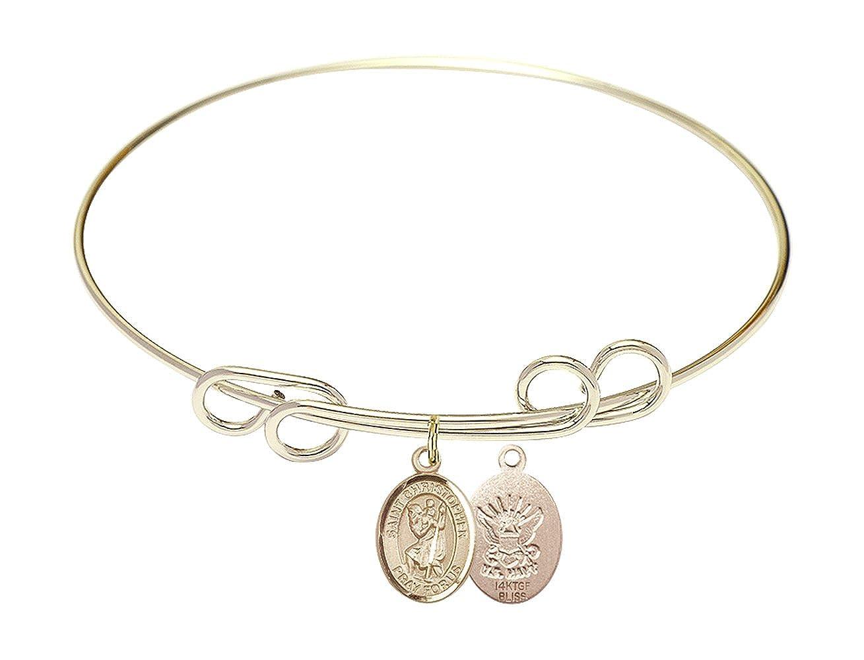 Christopher//Navy Charm. DiamondJewelryNY Double Loop Bangle Bracelet with a St