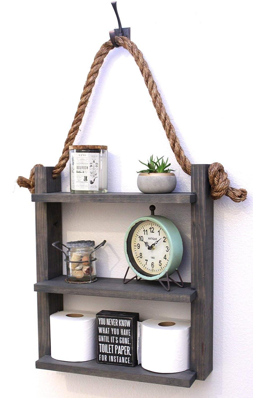 Amazon Com Bathroom Farmhouse Ladder Shelf Rustic Hanging Rope Shelf Cabin Home Decor Medicine Cabinet Toilet Paper Holder Handmade