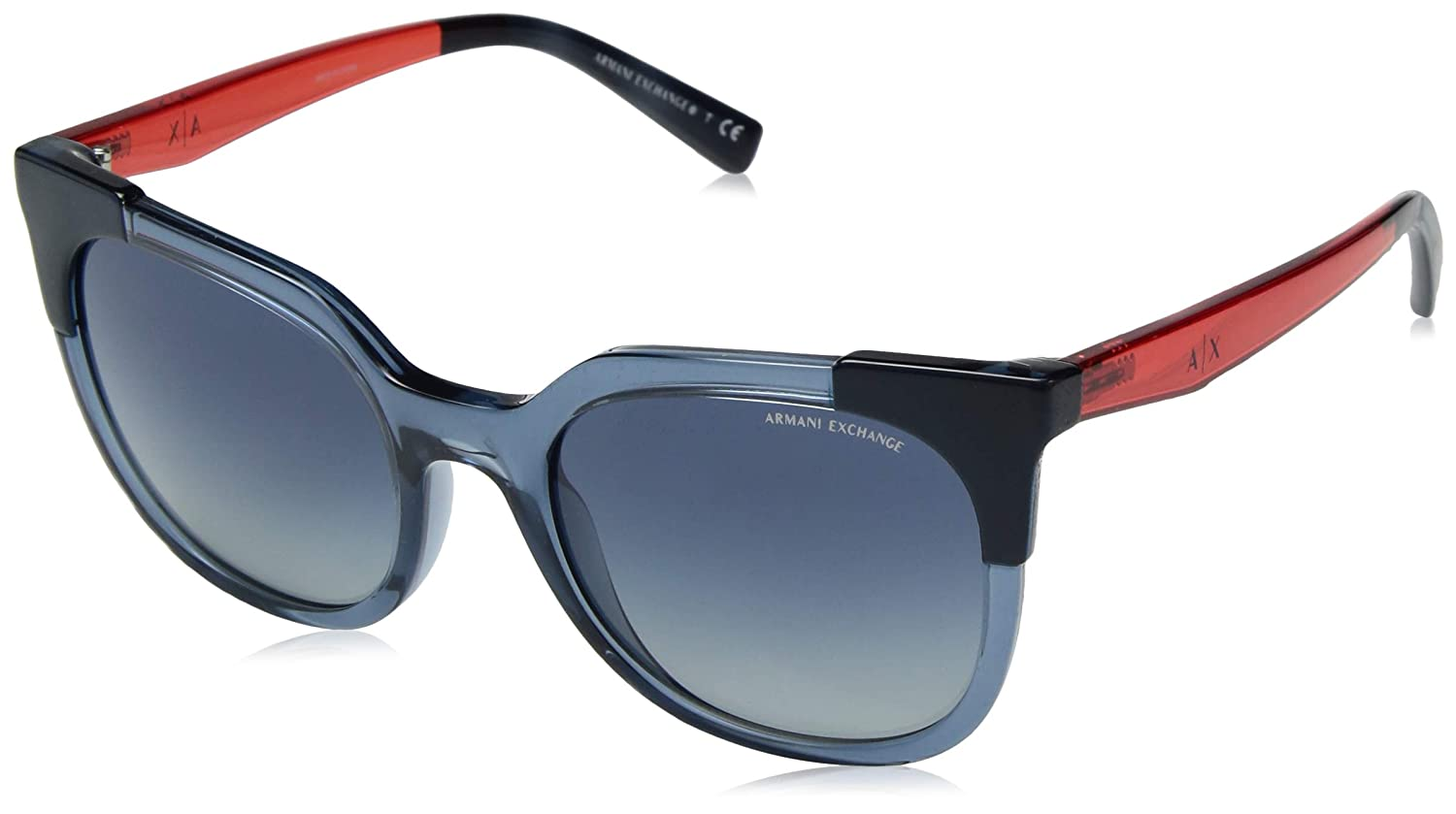 Armani Exchange Women's Injected Woman Sunglass Square, Transparent bluee Dress, 53.0 mm