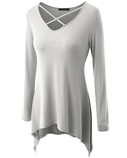 15cbe954b0f Image Unavailable. Image not available for. Color  Amayar Women Criss Cross  Neck Swing Tunic Tops Plus Size Loose-Fit T Shirt