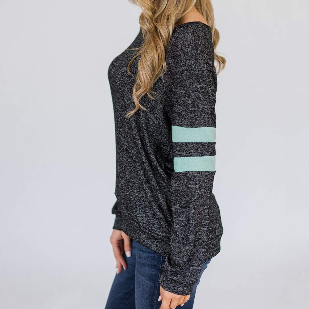 Spbamboo Womens Blouse Clearance Stripe Printed Long Sleeve Daily Casual Tops by Spbamboo (Image #3)