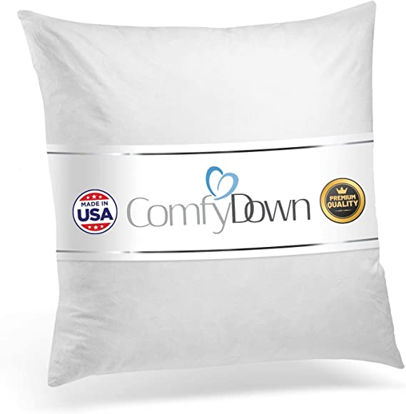Amazon Com Comfydown 95 Feather 5 Down 16 X 16 Square Decorative Pillow Insert Sham Stuffer Made In Usa Home Kitchen