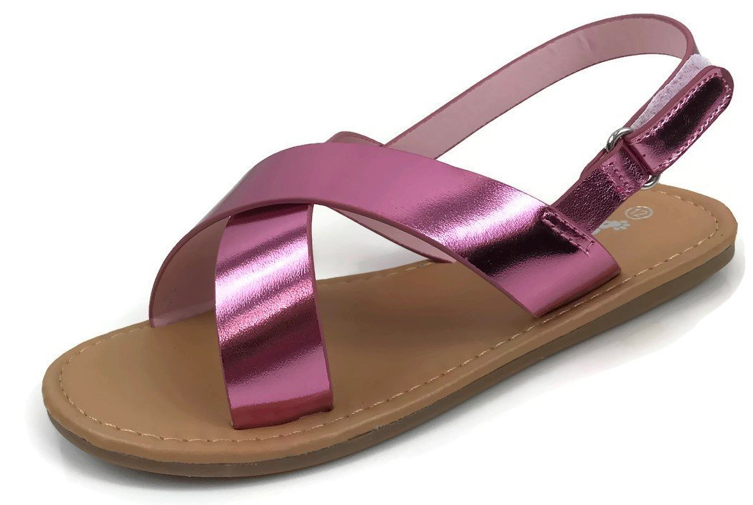 Osito Collection Kids SEZ Criss Cross Toe Strap Ankle Strap Flat Sandals Summer Pink 7