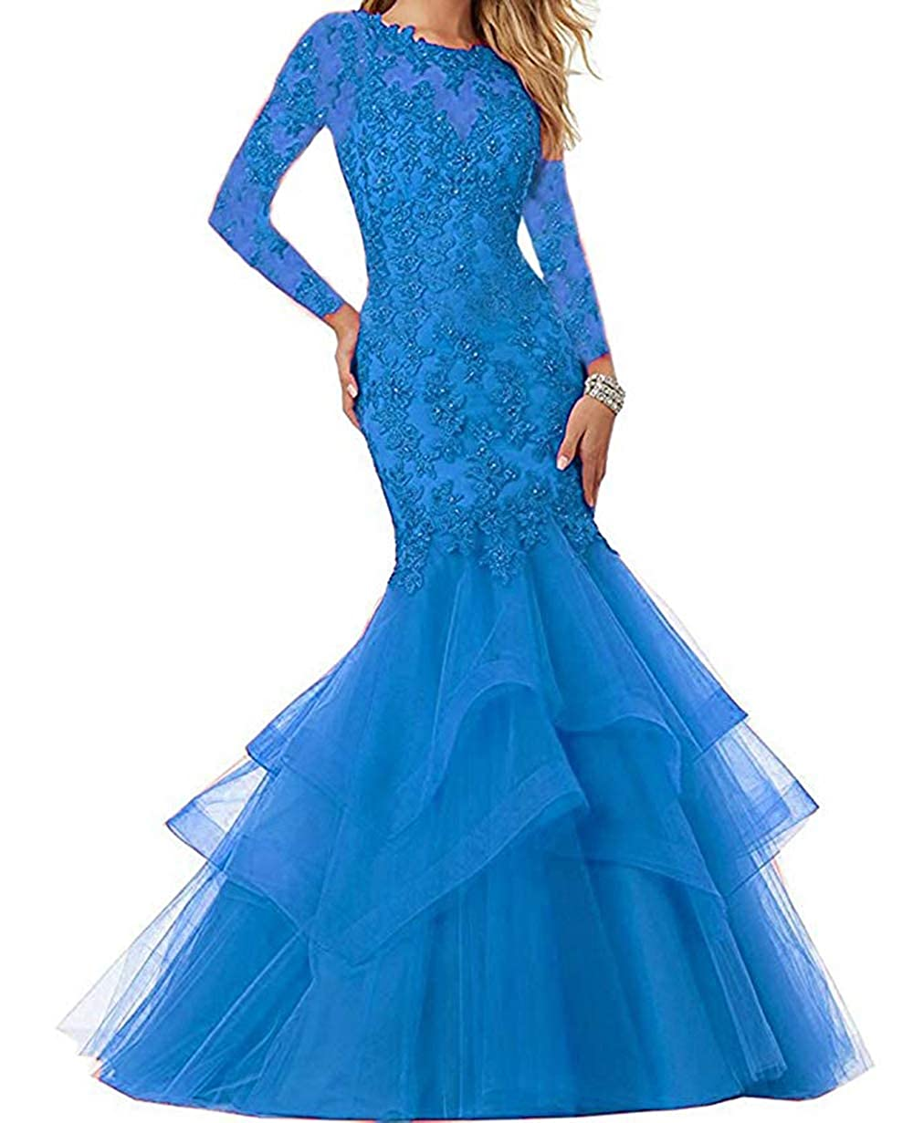 bluee Women's Mermaid Prom Dresses Beaded Lace Appliques Formal Evening Gowns Long Sleeves