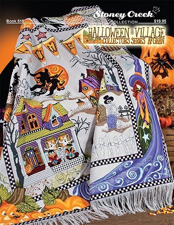 Halloween Village Afghan (Book 518) Cross Stitch Chart and Free Halloween - Creek Patterns Stoney Stitch Cross