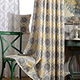 KoTing Linen Gray/Yellow Curtain 2018 New Decro Short Curtain for Living Room Grommet Top 42W by 63L Inch