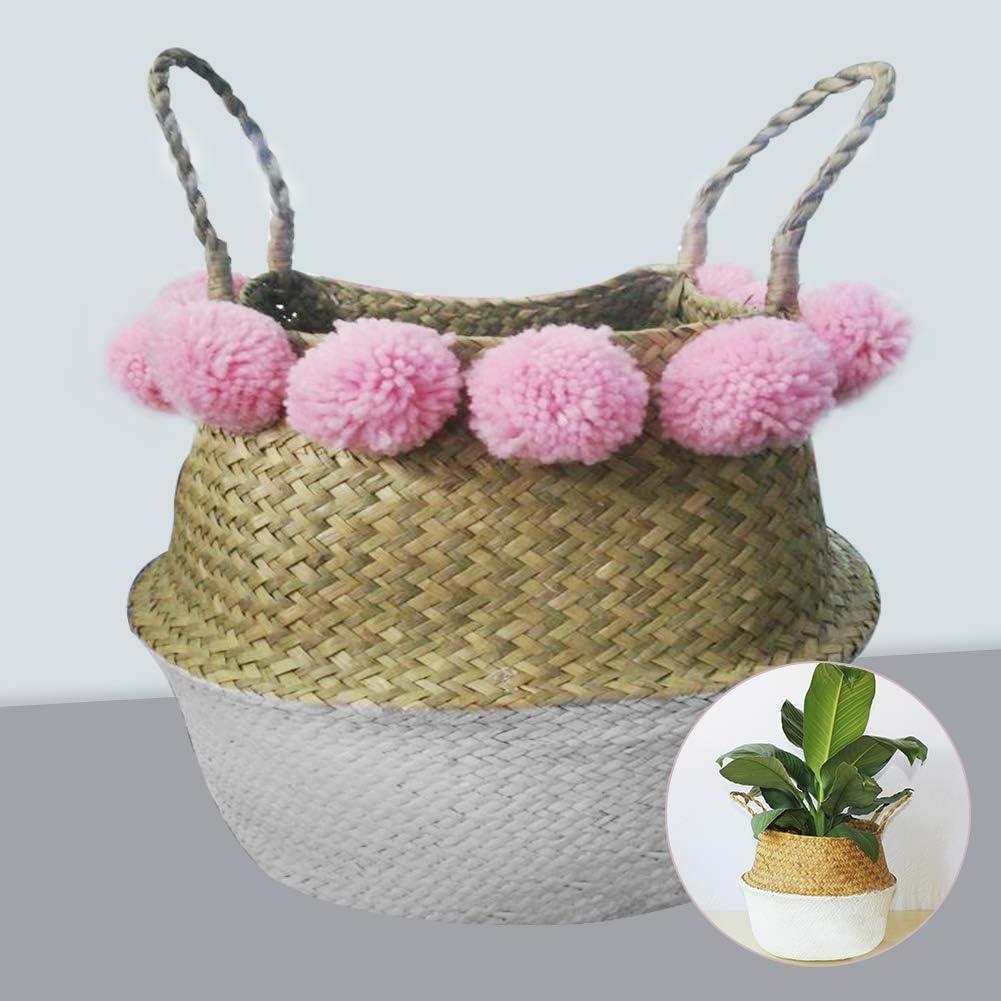 Corbeille de rangement tress/ée avec poign/ée et boule /à cheveux rose Panier en osier Plante pliable pour la maison la chambre /à coucher Fait /à la main