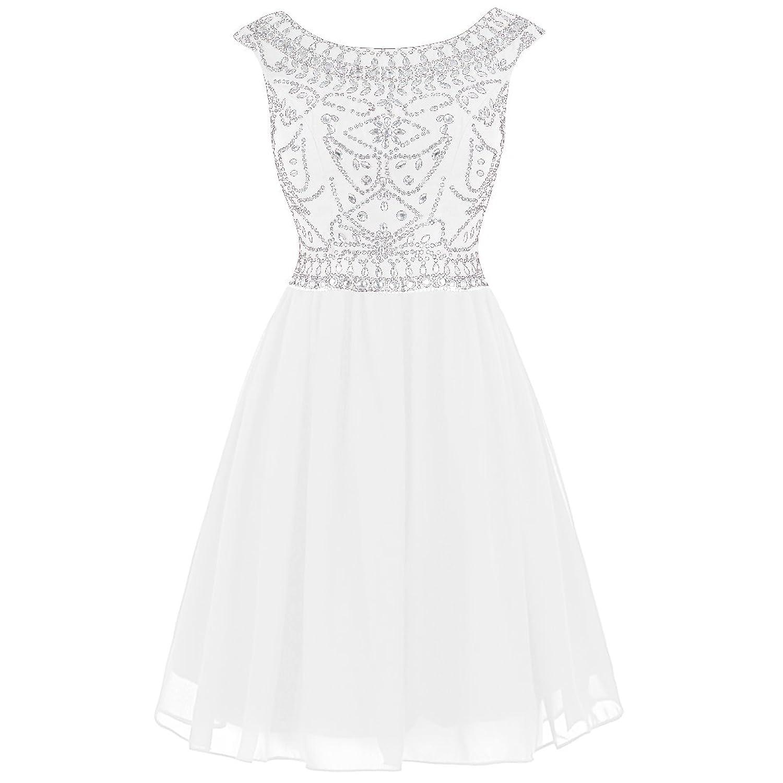 Wedtrend Women's Short Beading Homecoming Chiffon V-back Prom Dress